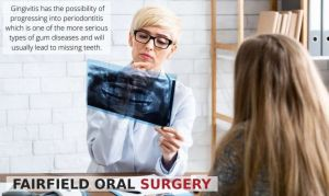 Female dentist looking at patient R-ray for Periodontal disease, with text - Fairfield, CA